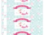 Printable Instant Download customizable Sweet mermaid water bottle wrap
