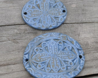 Handmade Pottery Beads 2 piece set in Stormy Blue