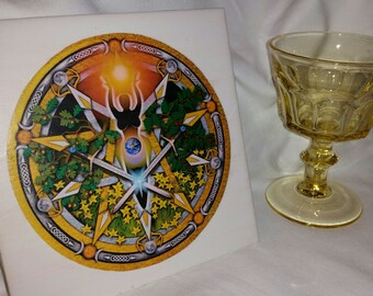 "MIDSUMMER / LITHA 6"" Altar Tile with Vintage Yellow Glass Offering Chalice/ Vessel"