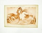 Nude print 1910, Erotic  Female Nude Lithograph