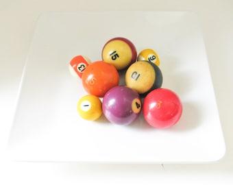 Set of Eight Vintage Cue Balls, Photo Props, Vase Filler, Bowl Filler