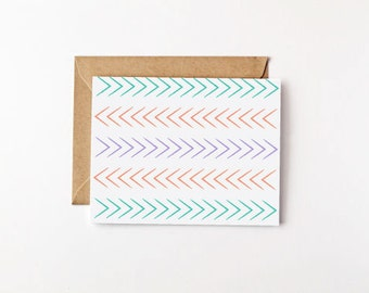 Which Way Eco Friendly Card Set Stationery Set Recycled Paper Note Card Set Blank Cards Blank Note Cards Arrow Pattern Arrow Card