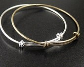Bangle Bracelet 1 Adjustable Antique Bronze or Shiny Silver 61mm wide (1014ban61z1)