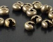 Crimp Cover 24 Crimping Beads Antique Bronze 5mm NF (1023cri05z1)