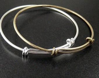 Bangle Bracelet 1 Adjustable Antique Bronze or Shiny Silver 61mm wide (1014ban61z1)