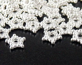 REDUCED Bead Spacer 100 Shiny Silver Daisy Star 5 Point Petal 8mm (1125spa08s1)xz