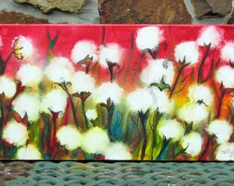 Cotton Blush, ORIGINAL Mixed Media painting, gallery wrap canvas