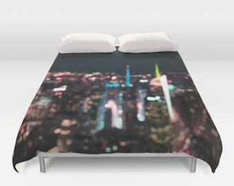 "Duvet Cover Made to Order ""New York Manhattan Time Square"" Decorative bedding unique design modern comforter bedroom blanket city bokeh glow"
