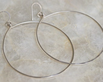 Silver Hoop Earrings, Large Silver Hoop Earrings, Hammered Silver Hoop Earrings, Light Weight Silver Hoop Earrings, Disco Hoops