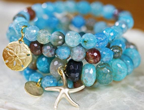 Agate Bracelets, Bracelet Set, Stretchy Bracelets, Stacking Bracelets, Layered Bracelet, Charm Bracelet, Beachy Jewelry