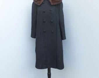 Vintage 1960s Double Breasted Dress Coat, Carillon,  Full Length Black Wool Coat w/MINK Collar / Petite