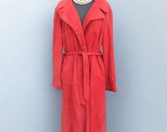 Vintage 70s Boho Midi Suede Wrap Swing Style Coat / Boho / Rust Color Suede/Leather Wrap Coat