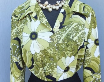 1970s PYKETTES Blouse / Green, Black and White Floral Print Career Blouse / Ex large