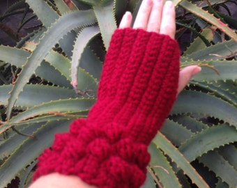 Crochet Fingerless Gloves Arm Warmers Womens Mitts Cranberry