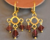 Garnet Drop Cloud and Rain Dangle Earrings