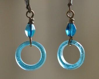 Cerrulean Blue Circle dangle earrings