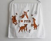 I Love Pits Tea Towel / Pitbull Tea Towel / Velvet Hippo Tea Towel / Cotton Tea Towel