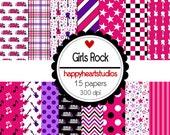 Digital Scrapbook  GirlsRock-INSTANT DOWNLOAD