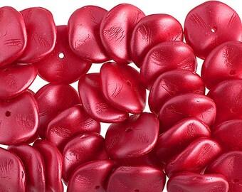 12pcs Czech Preciosa Ripple Beads - Waved Disk - Pearl Pastels Raspberry Red 12mm (45S8)