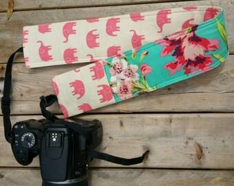 Padded DSLR camera strap cover, reversible padded camera strap cover, slip on strap cover in sweet safari