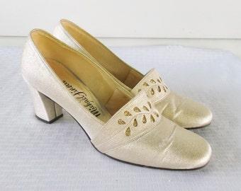60s 70s Vintage Gold Lame' Mod Evening Shoes Size 10N