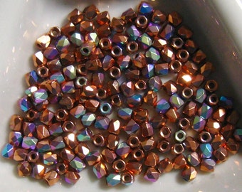 Fire Polish True 2MM Copper Plated AB -  Approx 600 pieces