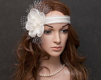 White flapper headband, white fascinator - New style, new product for coming summer parties