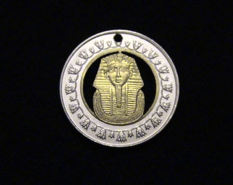 EGYPT - cut coin pendant - w/ King Tut - 2005
