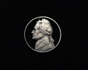 US - cut coin pendant - Thomas Jefferson - 1971