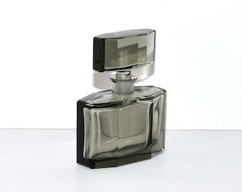 Art Deco Czechoslovakia Smoked Glass Perfume Decanter, circa 1920s - 1930s
