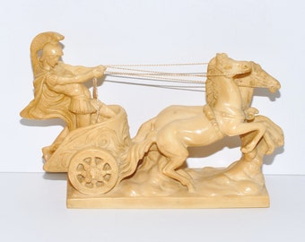 Vintage Faux Ivory Roman Chariot by A. Santini, Italy