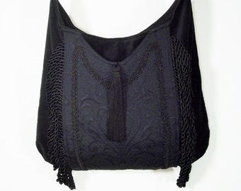 Fringed Gypsy Black Bag  Black Matte Lase Messenger Renaissance Crossbody Black Velvet Boho Purse