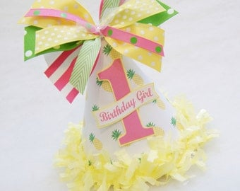 NEW Pink, Yellow, and Green Pineapple Birthday Party Hat - Pool party, Summer party, Party Like a Pineapple Birthday Party