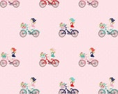 Clearance FABRIC VINTAGE MARKET Bicycles on Pink by Riley Blake 1/2 yard