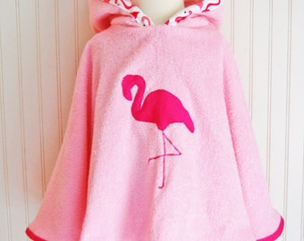 Hooded Towel Pink Flamingo Swimsuit Cover Up Hot Coverup Girls Beach Apparel Pink Terry 12mos-2T, 3/4T, 5/6 - by The Trendy Tot