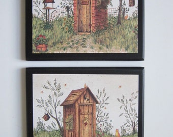 Outhouses for country bath, His & Hers, Rustic Lodge Wall Decor primitive or log cabin, outhouse plaques bathroom