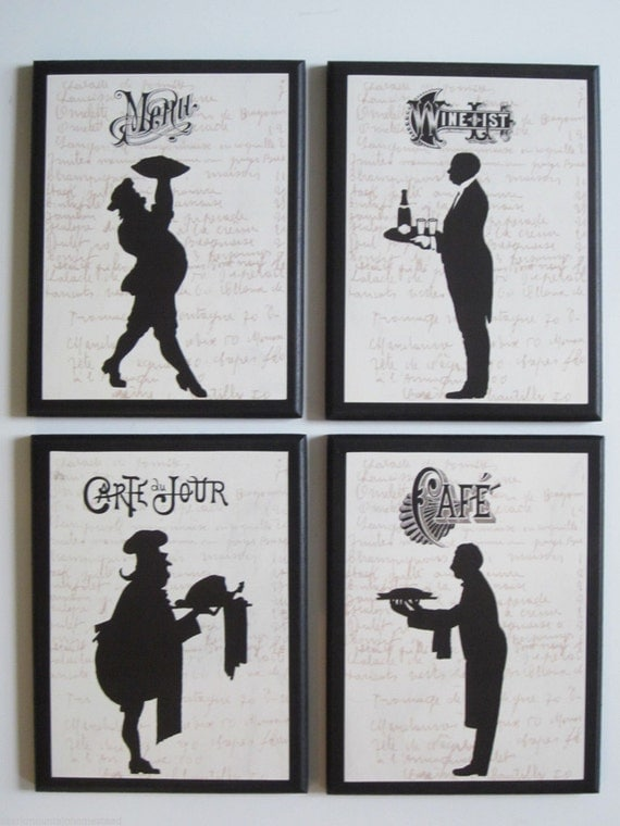 Chef silhouettes 4 kitchen wall decor plaques black white for Black kitchen wall decor