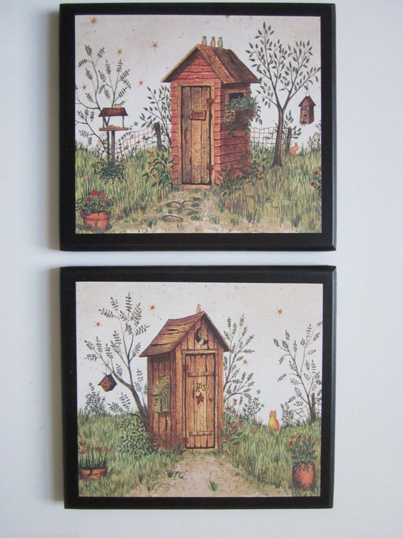 Outhouses for country bath his hers rustic lodge wall for His hers bathroom decor