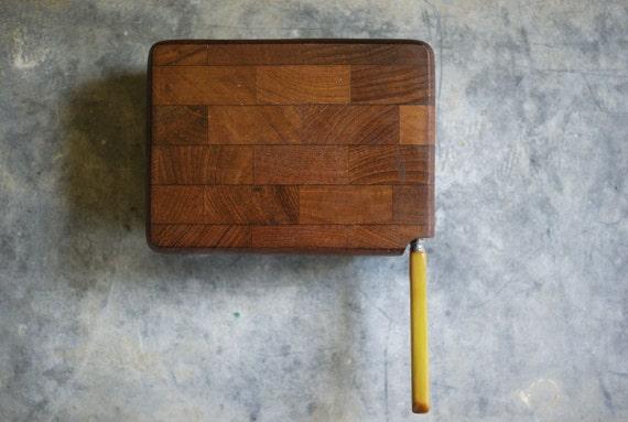 vintage teak cheese board butcher block small by susantique