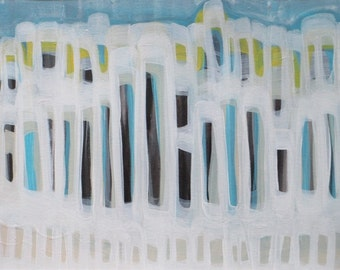 Beachfront, aqua, buildings, india ink and acrylic, black and white, abstract art, framed art