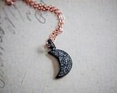 Crescent Moon, Moon Necklace, Diamond Pendant, Diamond Moon, Rose Gold, April Birthstone, Moon Charm, Anniversary Gift, Fine Jewelry