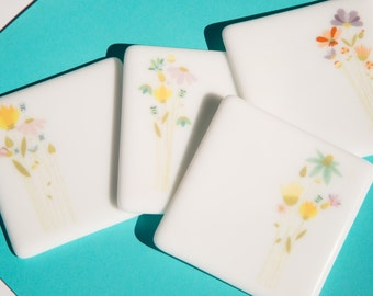 Fused Glass Coasters - set of four - yellow, blue, lavender and green