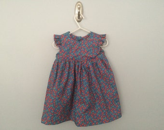 Geranium Dress in Cherries (Size 18-24 months)