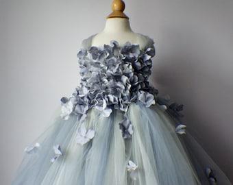 Flower girl dress Gray Dress, Gray tutu dress, flower top, hydrangea top, toddler tutu dress Cascading flowers