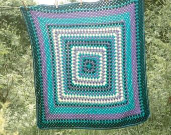 Crochet Baby Blanket, Baby Shower Gift, Granny Square Baby Boy Blanket, Baby Girl Blanket, Blue, Turquoise, Purple