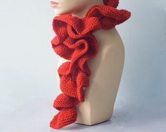 Knit Ruffle Scarf, Custom Chose Color, Wool Ruffled Scarf, Winter Scarf, Women's Scarf