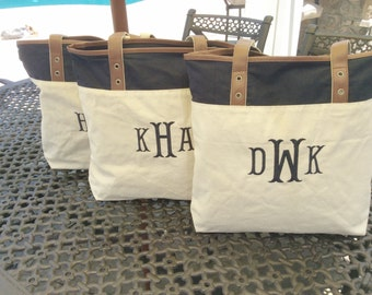 SALE - Heritage Tote Bag - Navy/Natural personalized totes - monogrammed - embroidered - canvas