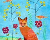 Fox Art Print, Fox Collage Painting,Woodland Fox Painting, Animal Print 16 x 20, Children Decor,
