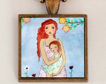 Mother Daughter Necklace - Mother Necklace - Mother Daughter Jewelry -  Motherhood Pendant - Mothers Love Necklace - Mother Child Necklace