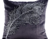 """Handmade Purple Charcoal Pillows Cover, 16""""x16"""" Velvet Pillowcase, Square  Crystals Peacock Feather Pillows Cover - Peacock Bliss"""